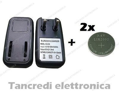 US Plug 2 Slot LIR2032 LIR2025 LIR2016 Button Coin Cell Battery Charger LCDBLUS