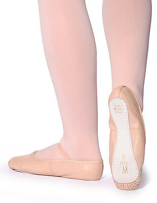 Fit Normal Shoe Size Adult Ballet Shoes Pink Leather Full Sole with Elastic on