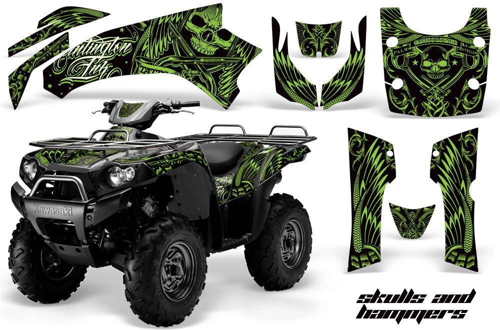 Atv Grafik Kit Kit Kit Quad Aufkleber für Kawasaki Brute Force 650i 04-12 Hish Grün 35e8cf