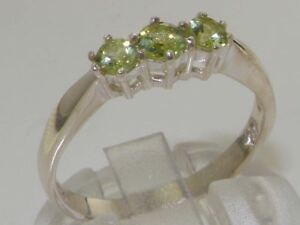 Solid-Sterling-Silver-NATURAL-PERIDOT-Trilogy-Birthstone-Band-Ring-FULL-HALLMARK