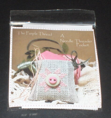 "The Purple Thread /""Needle Threader Pocket/"" Cross Stitch Kit w// Buttons NIP"