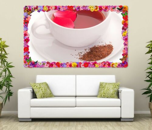 3D Mural Tattoo Tea Red Red Rooibos Cup Kitchen Flowers Wall Sticker 11L1393