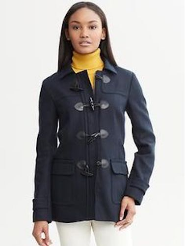 Banana Republic Women's Navy Leather Toggle Coat Insulated Red Liner Small