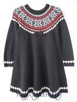 Hanna Andersson Swedish Sno Happy Fair Isle Twirl Sweater Dress Black 130 8