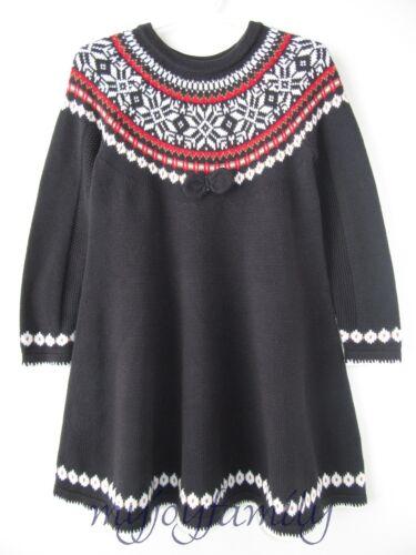 Hanna Andersson Sno Happy Fair Isle Twirl Sweater Dress Black 90 ...