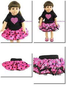 Pink-Glitter-Reversible-Heart-Skirt-Set-18-034-Doll-Clothes-Fit-American-Girl-Dolls
