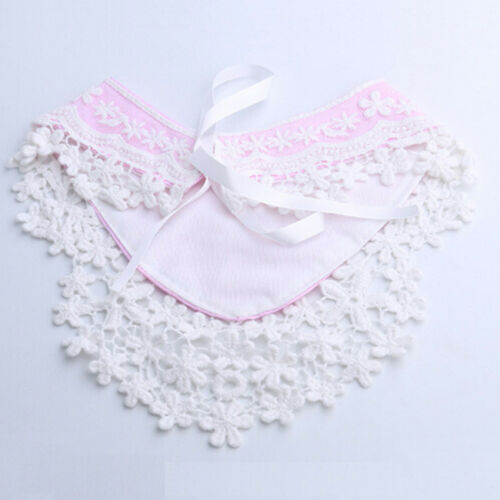 Stunning Baby Girls Lace Overlay Spanish Style Ribbon Tie Decorative Bib 6A