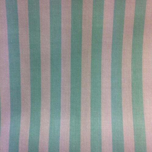 0.25m Pale Mint Green And White Stripe Cotton Craft or Dress Fabric