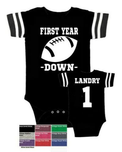 Personalized custom football 1st first year down baby birthday bodysuit colors