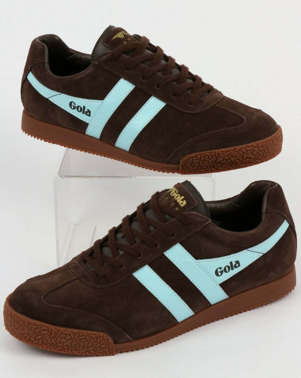 Gola Harrier Suede Trainer in Dark Braun & Sky Blau sole - retro classic gum sole Blau 80b53d