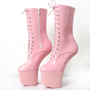 Women-Patent-Leather-Heelless-Platform-Lace-Up-Mid-Calf-Boots-Nightclub-Cosplay