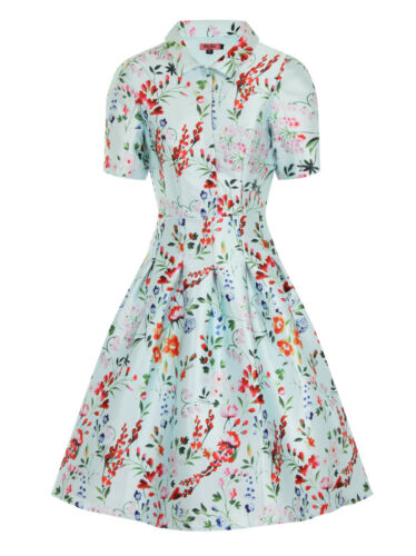 multicoloured Blue Flora Chi Print Dress Midi Collared London 12 Bnx48ZP