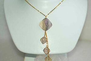 Gehorsam 750 Gold Collier Halskette Y-kette 18 Kt Unikat Filigrane Handarbeit Neu