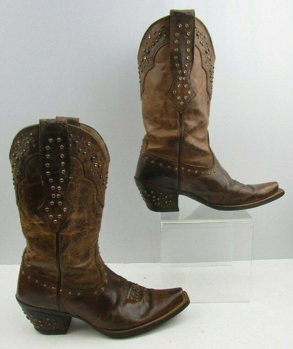Señoras Ariat Marrón Cuero Occidental Vaquera botas Talla  7 B