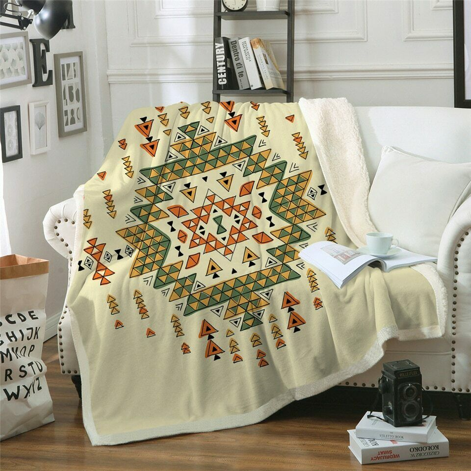 Geometric Aztec Grün Orange Sherpa Plush Throw Blanket Fleece Bed Sofa Couch