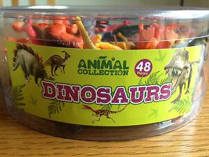 Tub of 48 Plastic Toy Dinosaurs/Anim<wbr/>als Great for Party Bags - Brand New