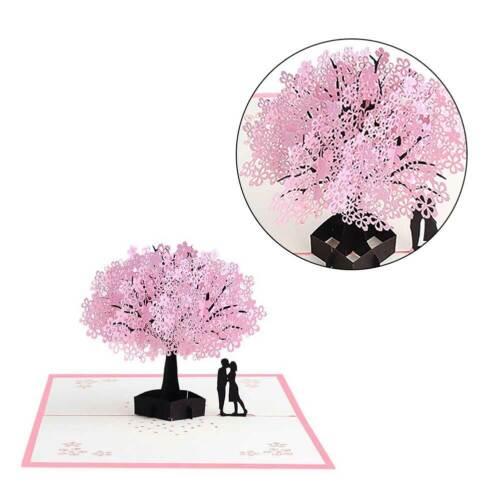 3D Pop Up Cherry Blossoms Card Birthday Wedding Valentine Greet Anniversary