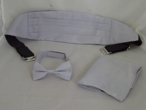 Page Boy-Wedding-Children Polyester SILVER Grey Bow tie Cummerbund /& Hankie Set