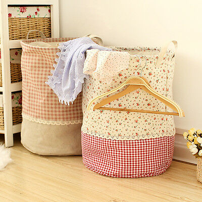 Fashion Cotton Linen Storage Basket Sorter Bag Bin Laundry Hamper Organizer Hold