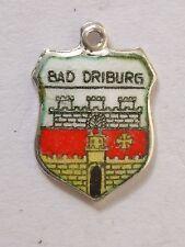 Bad Driburg,  vintage silver enamel travel bracelet shield charm