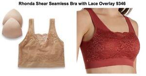 6814cb7f4bf Rhonda Shear Seamless Bra Lace Overlay L Style  9346 Removable Pad ...