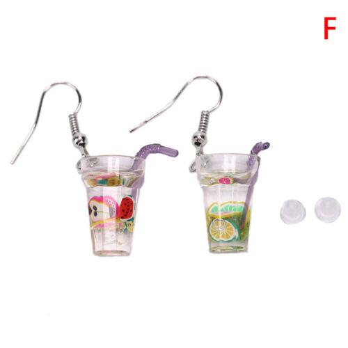 Funny Ice Lemon Tea Fruit Drop Dangle Earrings Ear Studs Women Jewelry Gift DS