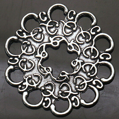 Tibetan Silver Charms Crafts Jewelry  Round Flowers Connectors Fit Necklace