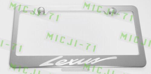 Lexus Script Letter Stainless Steel License Plate Frame Rust Free W// Bolt Caps