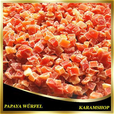 (10,48€/1Kg) Getrocknete Papaya Würfel-Papaya Stücke-Gezuckert-Kandierte-500g