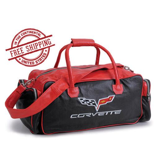 C6 Corvette Red /& Black Leather Duffle Bag