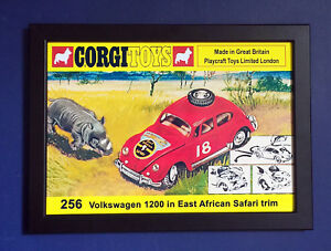 Corgi-Toys-256-Volkswagen-Beetle-1200-African-Rally-A4-Size-Framed-Poster-Sign