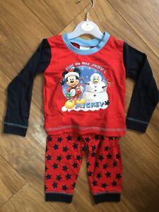 2ea9af508 Unisex Baby Toddler Disney Mickey Mouse Christmas Pyjama Cotton 9-12 ...