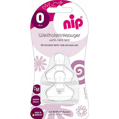 New Nip Silicone Orthodontic feeding teats medium twin pack for milk