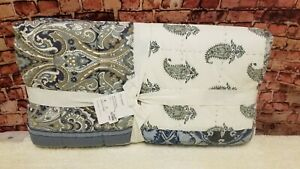 Pottery Barn McKenna  Patchwork Quilt Full Queen Blue White Paisley Print