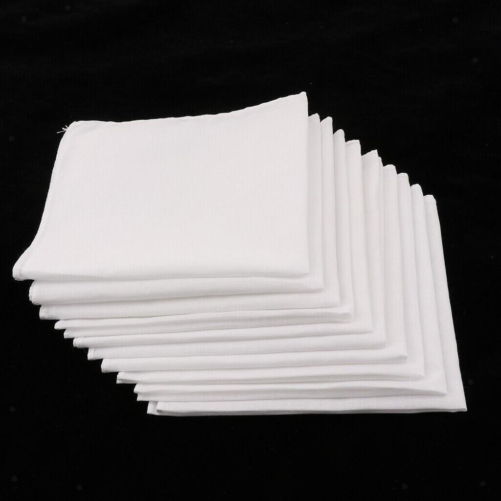 10 pcs Men Women 100% Cotton White Handkerchiefs Comfy Hanky Party Hankies