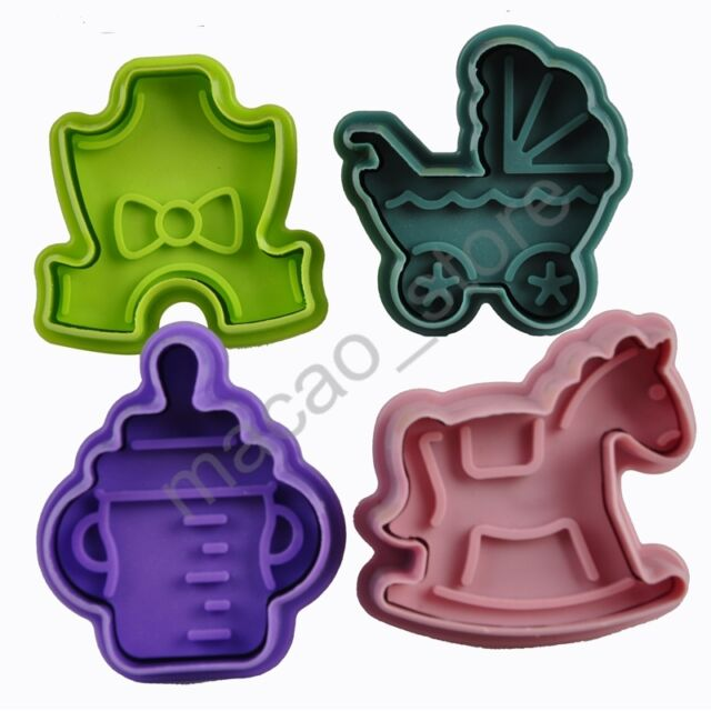 DIY 3D Cookie Biscuit Cutter Stamp Baking Mould Fondant Cake Sugar Craft 4 Pcs