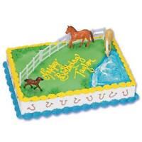 Horse 4 Piece Cake Kit Topper Cake Decorating Kit 3 Horses 1 Fence