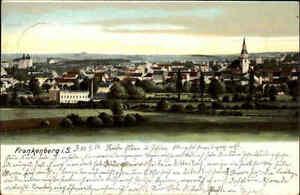 FRANKENBERG-Sachsen-color-Litho-AK-Gesamtansicht-Panorama-1904-frankiert-gelauf