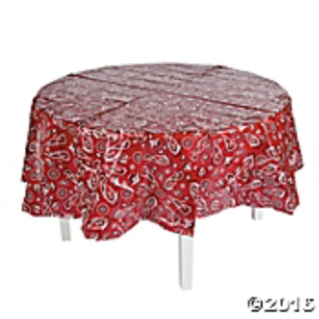 """82"""" Dark Red Round Bandana Plastic Tablecloth Waterproof Reusable Table Cover"""