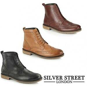 Silver-Street-London-GERRARD-Mens-Leather-Lace-Up-Wingtip-Brogue-Derby-Boots