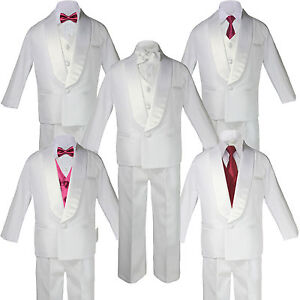 5-7pc Boy White Formal Shawl Lapel Suit Tuxedo MAROON Satin Bow Necktie Vest