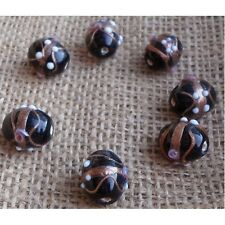 10 HANDMADE INDIAN WEDDING CAKE GLASS BEADS ~ 14mm Black Barrel Beads  ~ 47