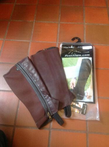 ProChaps Equestrian Leather Neoprene Half Chaps   Various Sizes   Brand New