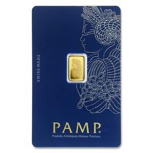Pamp-Suisse-fortuna-1g-Gramo-Oro-Fino-Bar-lingotes-999-9-Libre-P-amp-P