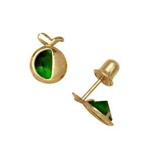 334d541ff 14k Yellow Gold Apple CZ Birthstone Stud Screw Back Earrings | eBay