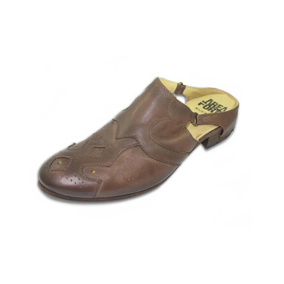 Area Forte Narrow Almond Toe Brown Leather Mule, Size 10, Made in