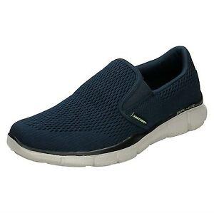 Detalles de Hombre Azul Marino Skechers Espuma Viscoelástica sin Cordones Zapatos para Andar