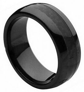 8mm Black Ceramic Ring Men Women Wedding Band Black Carbon