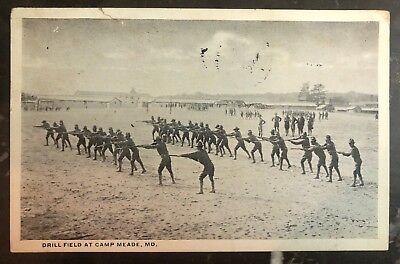 Briefmarken 1918 Baltimore Md Usa Rppc Postkarte Abdeckung Bohrer Field Bei Camp Meade