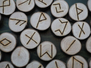 Willow-Wood-Elder-Futhark-Runes-with-Bag-amp-Information-sheet-Witchcraft-Norse